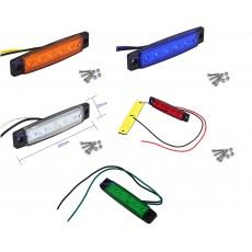 2 x 6 LED Marker /Side Lights 12/24volt Choose from - Amber, Blue, Green, Red or White
