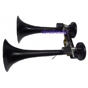 24 Volt Truck Air Horns TGV Train Airhorn Twin Black Trumpets SK108