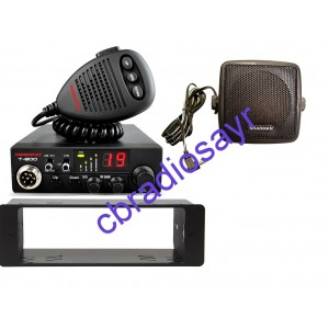 Thunderpole T-800 Multi Channel 12 Volt AM/FM CB Radio, DIN Bracket Facing Plate & Small CB Speaker