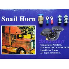 Black Snail Air Horn Trumpet 130dB Duel Voltage 12/24 Volt for Trucks & Lorries