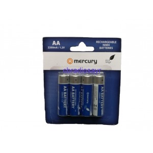 Mercury AA Rechargeable NIMH Batteries Suitable for Handheld CB Radios Pack of 8
