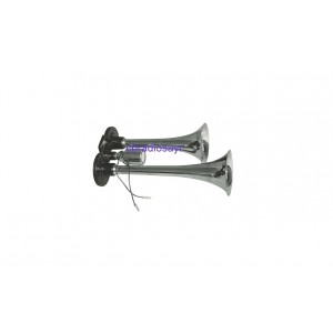 All Ride Duel 12/24 Volt Twin Trumpet Chrome Air Horn - Single Tone